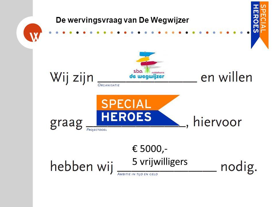 De wervingsvraag van De Wegwijzer € 5000,- 5 vrijwilligers