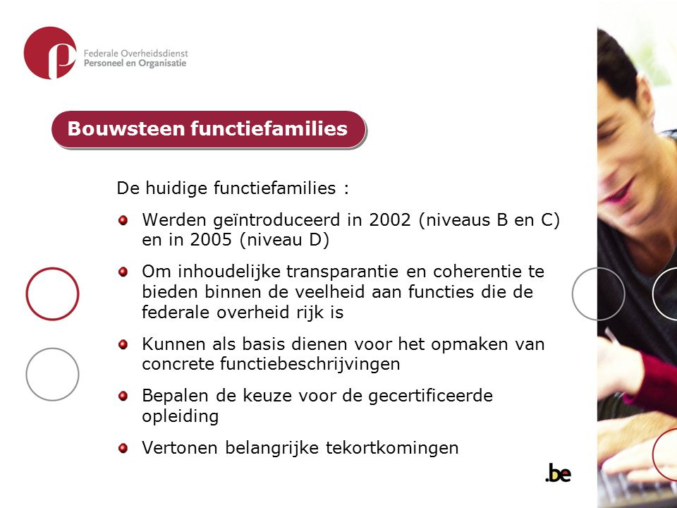 De huidige functiefamilies : Werden geïntroduceerd in 2002 (niveaus B en C) en in 2005 (niveau D) Om inhoudelijke transparantie en coherentie te biede