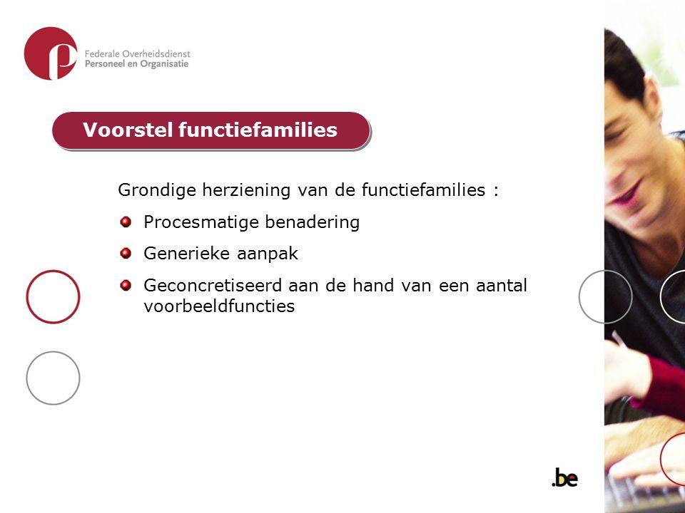 Grondige herziening van de functiefamilies : Procesmatige benadering Generieke aanpak Geconcretiseerd aan de hand van een aantal voorbeeldfuncties Voo