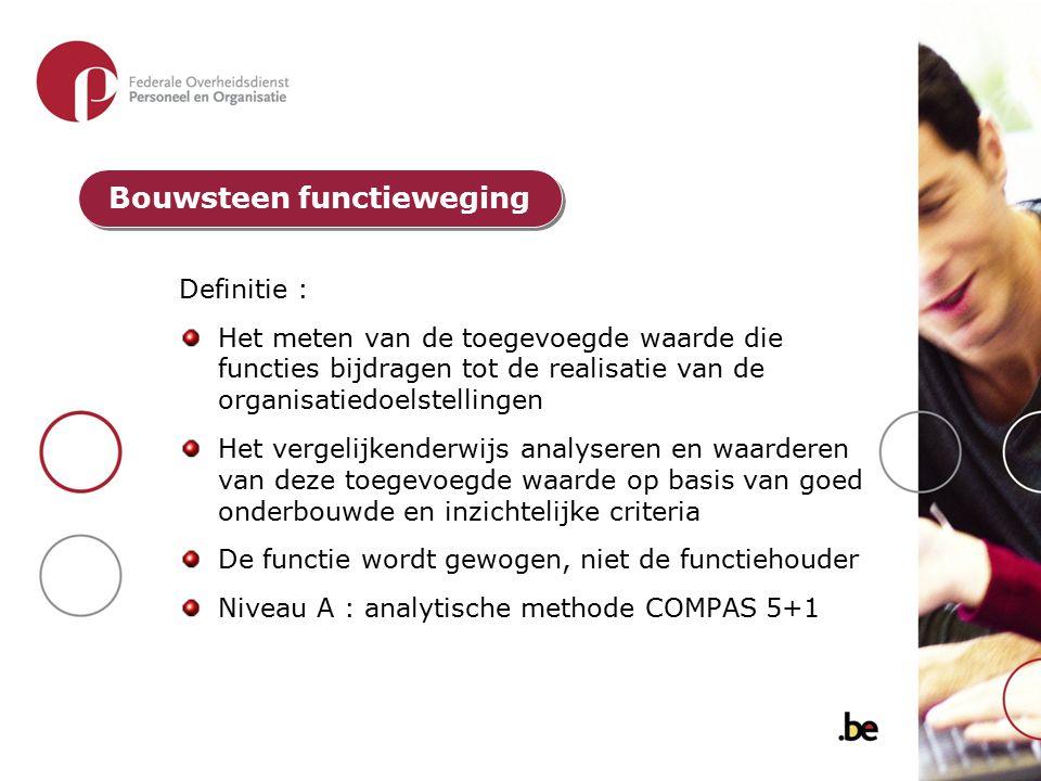 Definitie : Het meten van de toegevoegde waarde die functies bijdragen tot de realisatie van de organisatiedoelstellingen Het vergelijkenderwijs analy