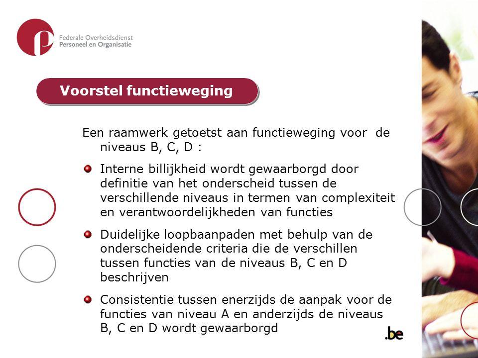 Een raamwerk getoetst aan functieweging voor de niveaus B, C, D : Interne billijkheid wordt gewaarborgd door definitie van het onderscheid tussen de v