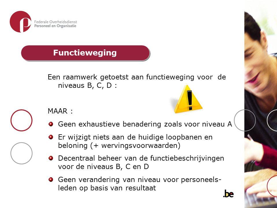 Een raamwerk getoetst aan functieweging voor de niveaus B, C, D : MAAR : Geen exhaustieve benadering zoals voor niveau A Er wijzigt niets aan de huidi