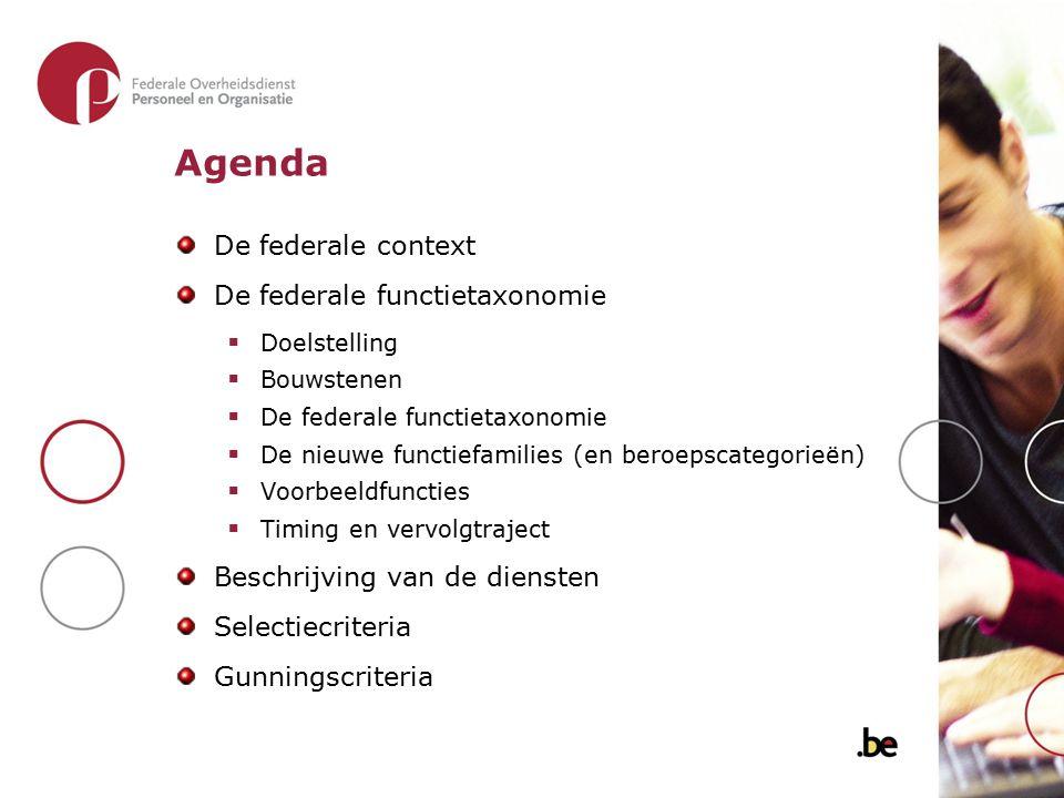 Agenda De federale context De federale functietaxonomie  Doelstelling  Bouwstenen  De federale functietaxonomie  De nieuwe functiefamilies (en ber
