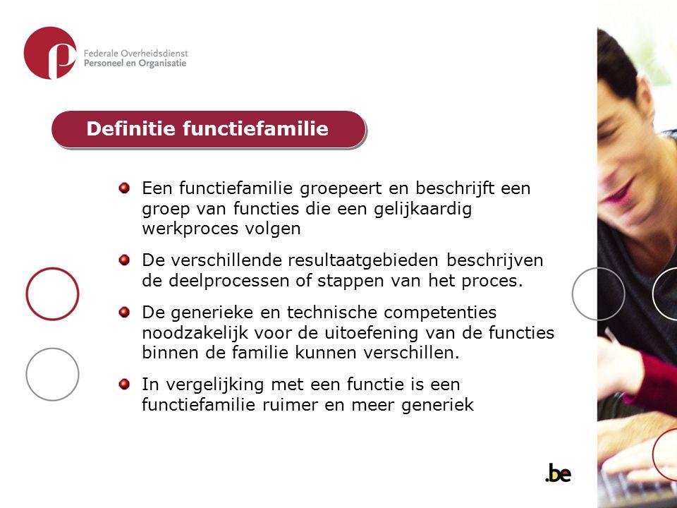 Een functiefamilie groepeert en beschrijft een groep van functies die een gelijkaardig werkproces volgen De verschillende resultaatgebieden beschrijve
