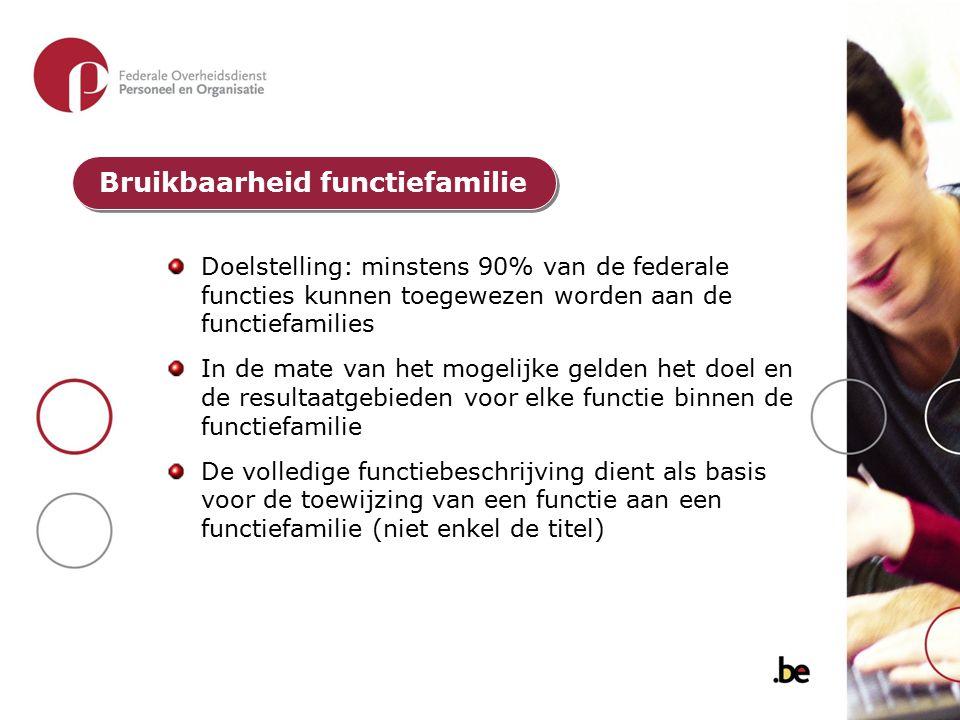 Doelstelling: minstens 90% van de federale functies kunnen toegewezen worden aan de functiefamilies In de mate van het mogelijke gelden het doel en de