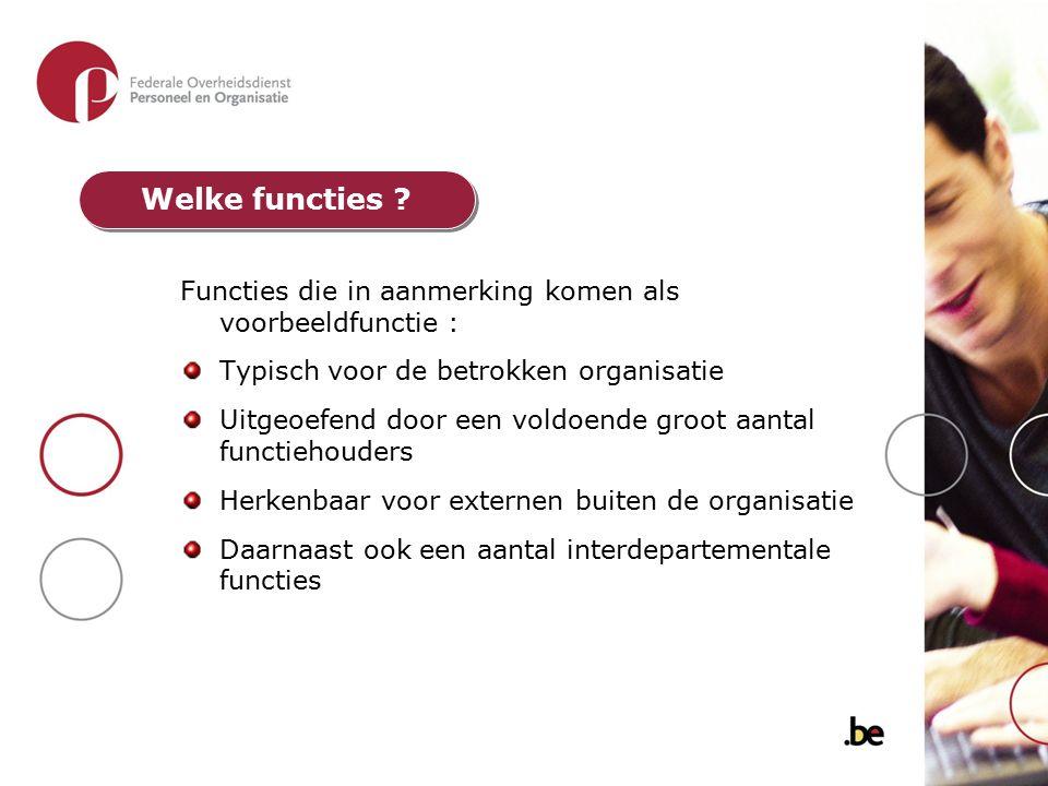 Functies die in aanmerking komen als voorbeeldfunctie : Typisch voor de betrokken organisatie Uitgeoefend door een voldoende groot aantal functiehoude