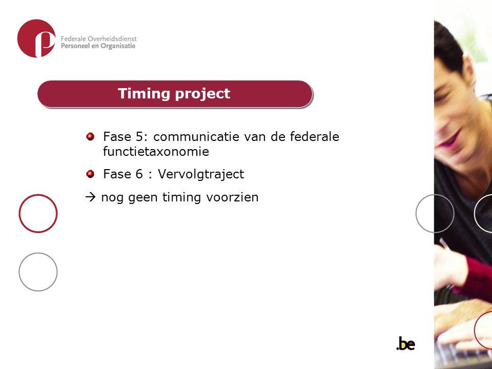 Fase 5: communicatie van de federale functietaxonomie Fase 6 : Vervolgtraject  nog geen timing voorzien Timing project