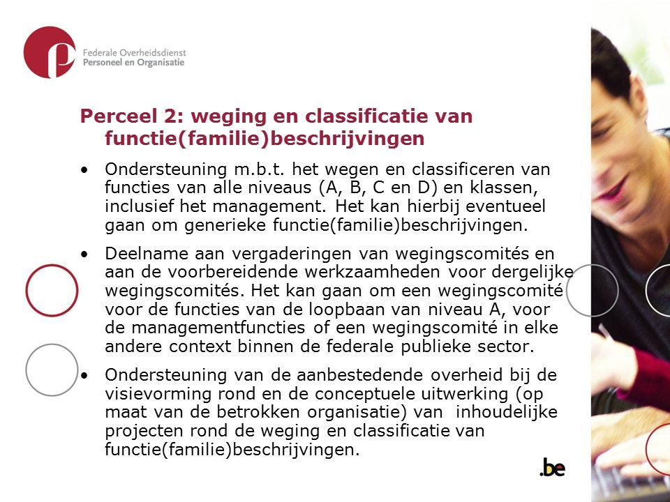 Perceel 2: weging en classificatie van functie(familie)beschrijvingen Ondersteuning m.b.t. het wegen en classificeren van functies van alle niveaus (A