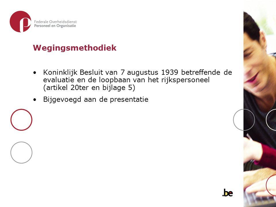 Wegingsmethodiek Koninklijk Besluit van 7 augustus 1939 betreffende de evaluatie en de loopbaan van het rijkspersoneel (artikel 20ter en bijlage 5) Bi