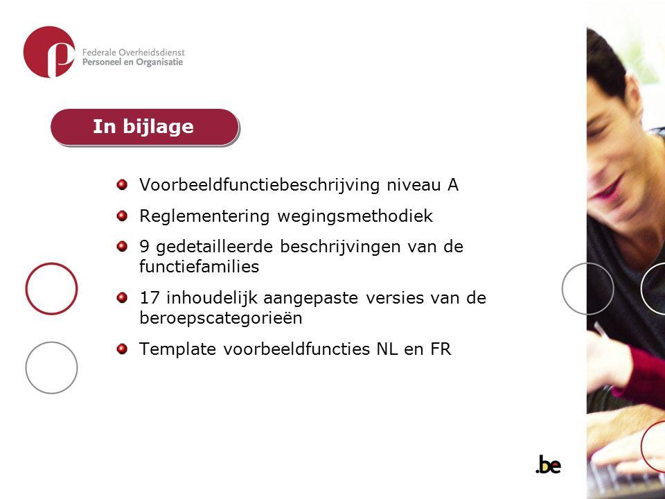 Voorbeeldfunctiebeschrijving niveau A Reglementering wegingsmethodiek 9 gedetailleerde beschrijvingen van de functiefamilies 17 inhoudelijk aangepaste