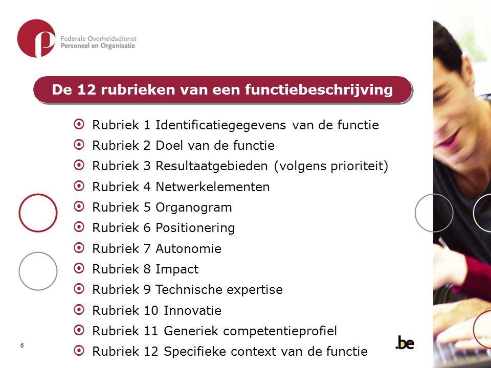 De 12 rubrieken van een functiebeschrijving  Rubriek 1 Identificatiegegevens van de functie  Rubriek 2 Doel van de functie  Rubriek 3 Resultaatgebi