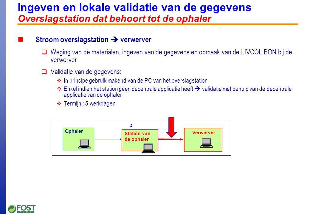 Ingeven en lokale validatie van de gegevens Overslagstation dat behoort tot de ophaler Stroom overslagstation  verwerver  Weging van de materialen, ingeven van de gegevens en opmaak van de LIVCOL.BON bij de verwerver  Validatie van de gegevens:  In principe gebruik makend van de PC van het overslagstation  Enkel indien het station geen decentrale applicatie heeft  validatie met behulp van de decentrale applicatie van de ophaler  Termijn : 5 werkdagen Verwerver Ophaler Station van de ophaler 2