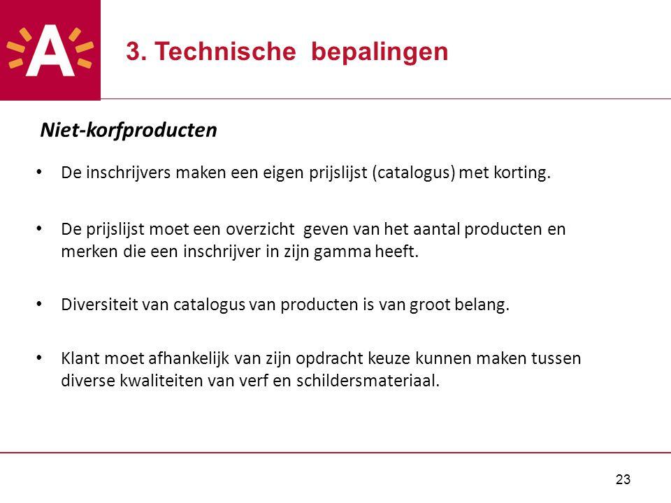 23 Niet-korfproducten De inschrijvers maken een eigen prijslijst (catalogus) met korting.