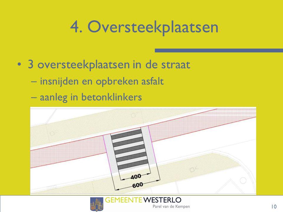 4. Oversteekplaatsen 3 oversteekplaatsen in de straat –insnijden en opbreken asfalt –aanleg in betonklinkers 10