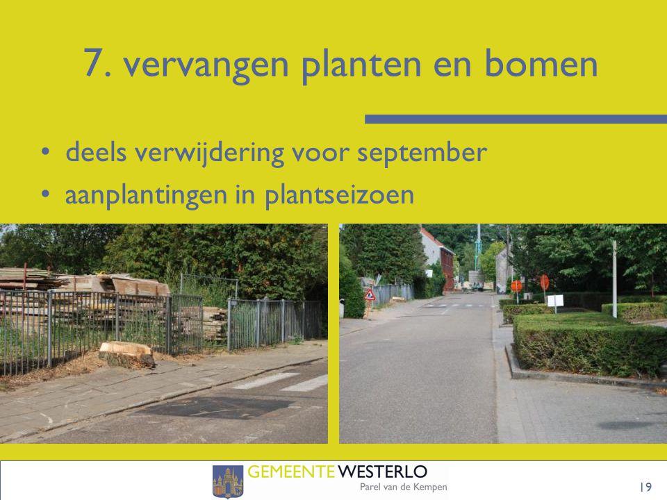 7. vervangen planten en bomen 19 deels verwijdering voor september aanplantingen in plantseizoen