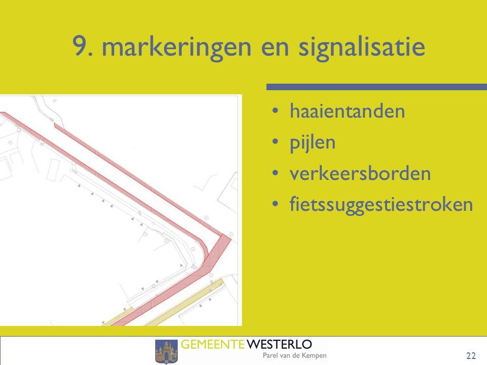 9. markeringen en signalisatie 22 haaientanden pijlen verkeersborden fietssuggestiestroken