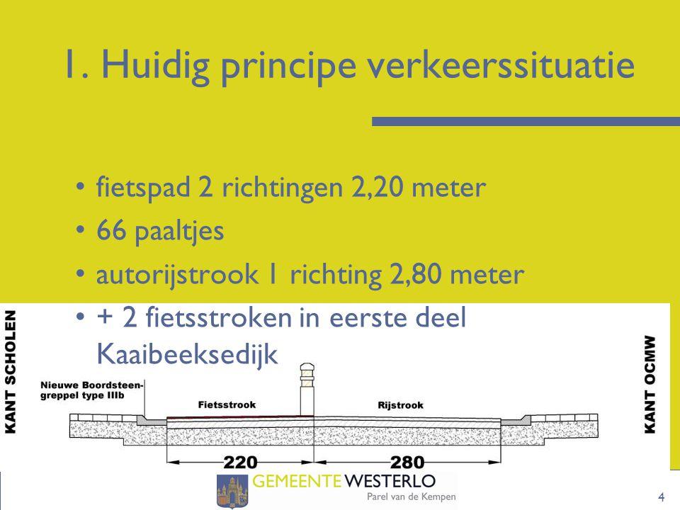 1. Huidig principe verkeerssituatie 4 fietspad 2 richtingen 2,20 meter 66 paaltjes autorijstrook 1 richting 2,80 meter + 2 fietsstroken in eerste deel