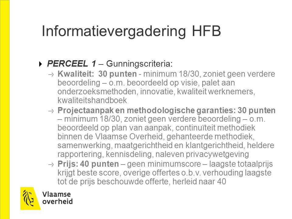 Informatievergadering HFB PERCEEL 1 – Gunningscriteria: Kwaliteit: 30 punten - minimum 18/30, zoniet geen verdere beoordeling – o.m. beoordeeld op vis