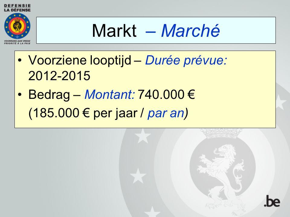 Voorziene looptijd – Durée prévue: 2012-2015 Bedrag – Montant: 740.000 € (185.000 € per jaar / par an) Markt – Marché