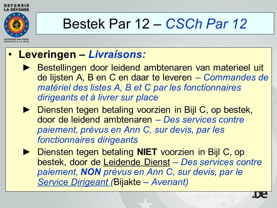 Leveringen – Livraisons: ►Bestellingen door leidend ambtenaren van materieel uit de lijsten A, B en C en daar te leveren – Commandes de matériel des l
