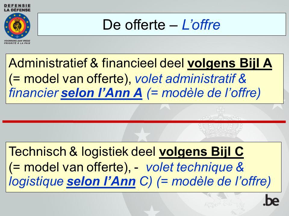 Administratief & financieel deel volgens Bijl A (= model van offerte), volet administratif & financier selon l'Ann A (= modèle de l'offre) De offerte