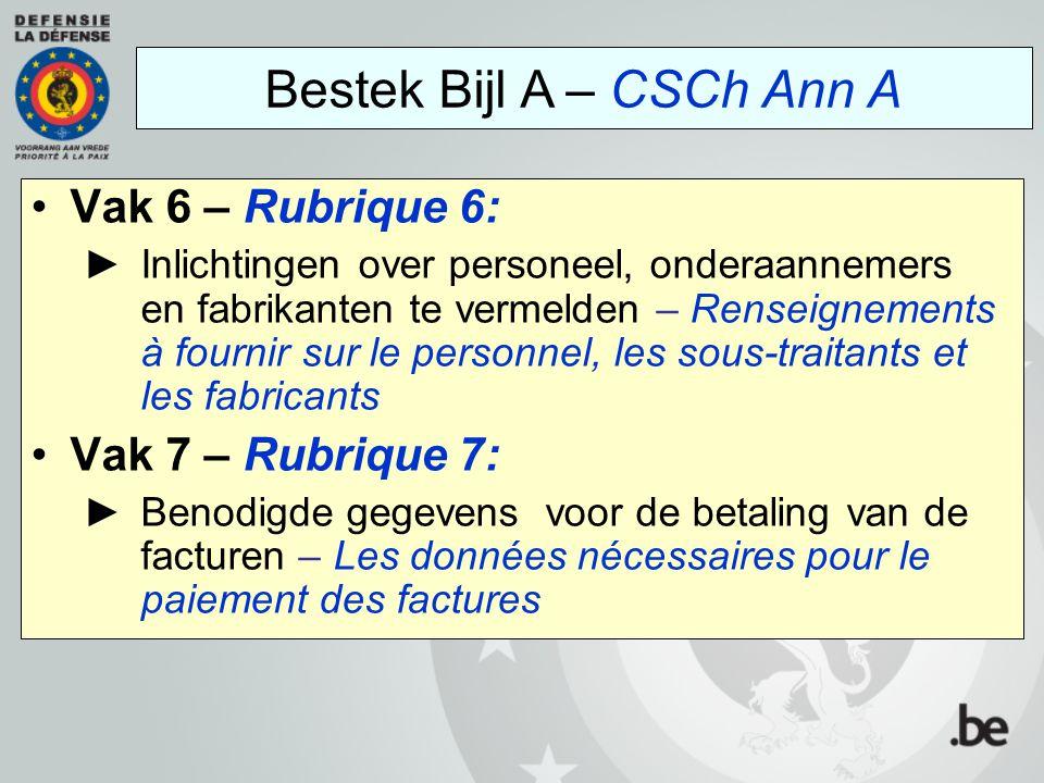 Vak 6 – Rubrique 6: ►Inlichtingen over personeel, onderaannemers en fabrikanten te vermelden – Renseignements à fournir sur le personnel, les sous-tra