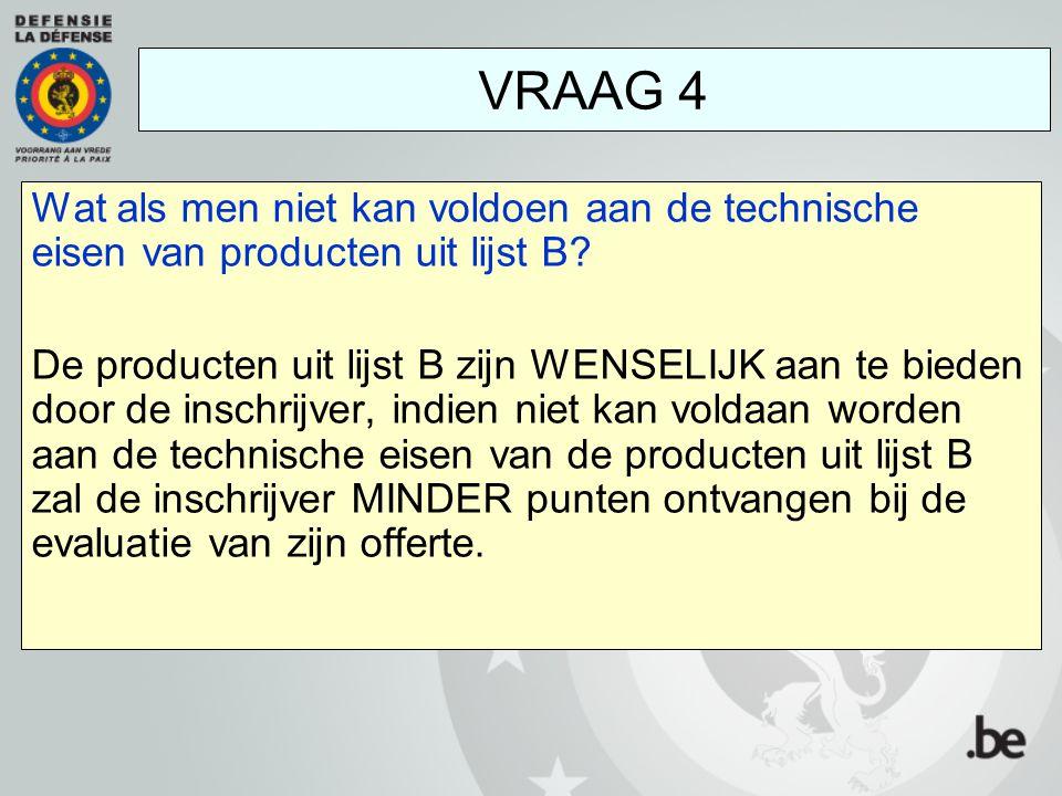 Wat als men niet kan voldoen aan de technische eisen van producten uit lijst B? De producten uit lijst B zijn WENSELIJK aan te bieden door de inschrij