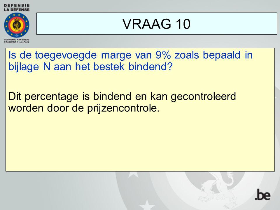 Is de toegevoegde marge van 9% zoals bepaald in bijlage N aan het bestek bindend? Dit percentage is bindend en kan gecontroleerd worden door de prijze