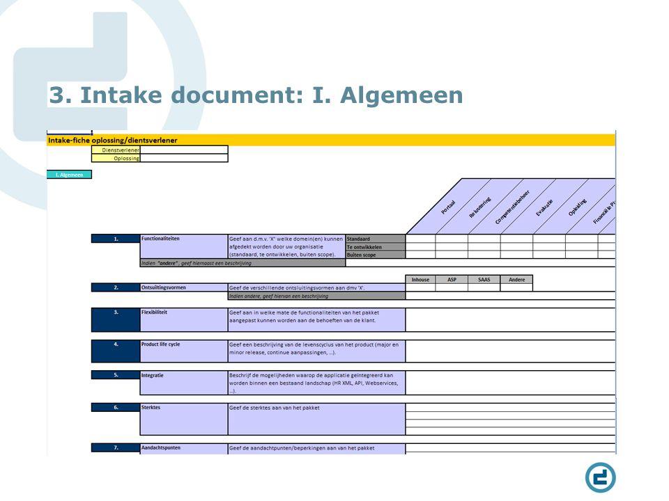 3. Intake document: I. Algemeen