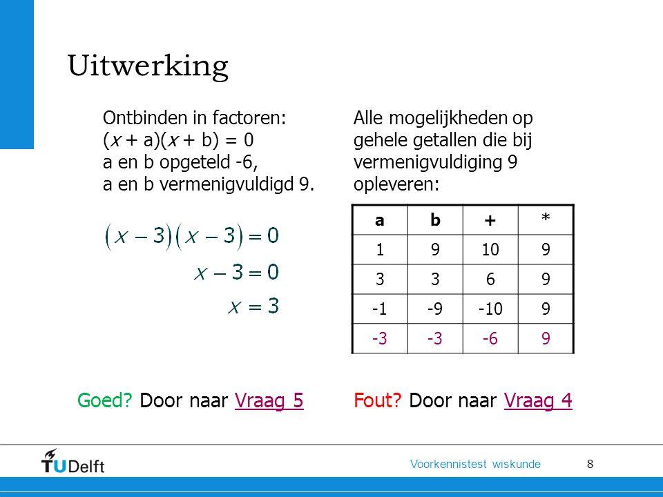9 Voorkennistest wiskunde Los x op uit de volgende wiskundige vergelijking: Hint: Haal buiten haakjes en los op Lineaire en kwadratische vergelijkingen Vraag 4 N4 N3 N2