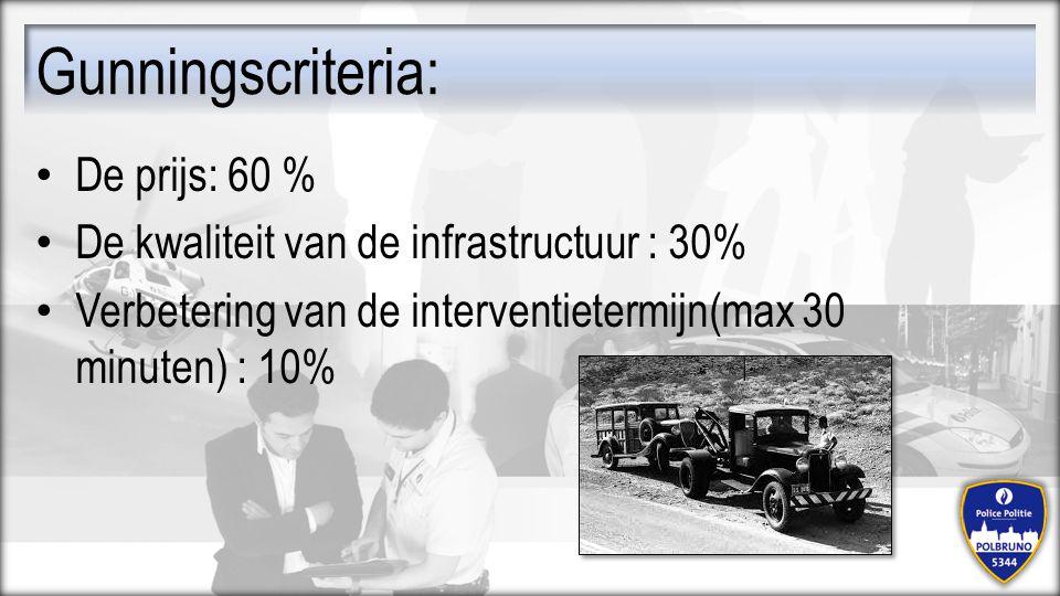 De prijs: 60 % De kwaliteit van de infrastructuur : 30% Verbetering van de interventietermijn(max 30 minuten) : 10% Gunningscriteria: