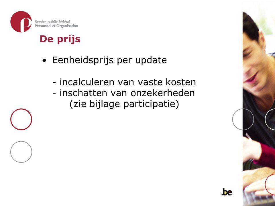 Eenheidsprijs per update - incalculeren van vaste kosten - inschatten van onzekerheden (zie bijlage participatie) De prijs