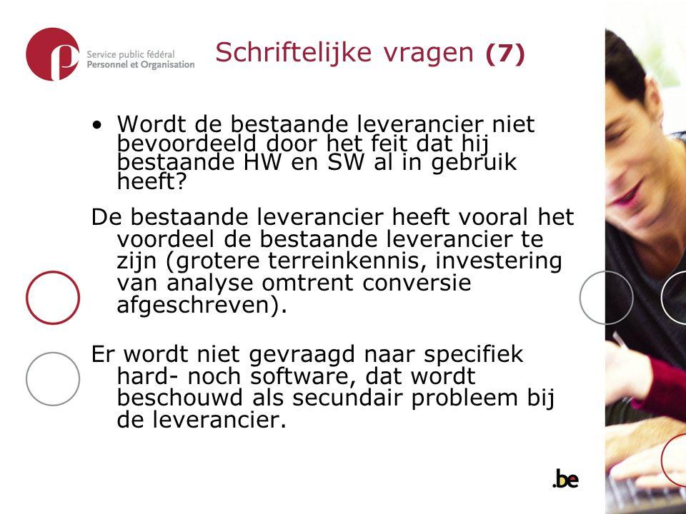 Wordt de bestaande leverancier niet bevoordeeld door het feit dat hij bestaande HW en SW al in gebruik heeft.