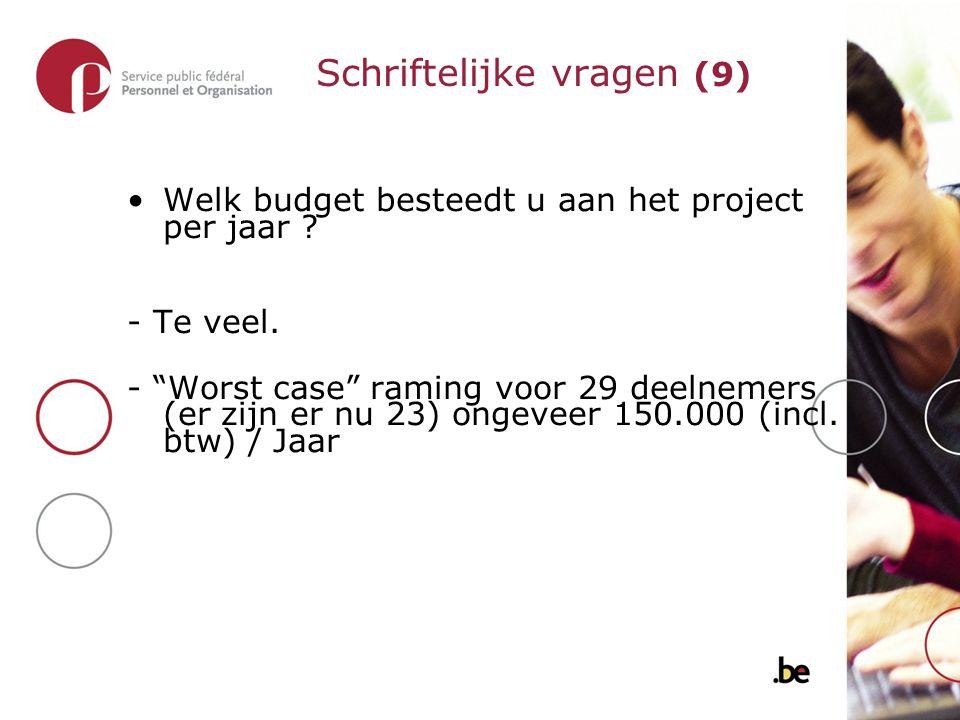 Welk budget besteedt u aan het project per jaar . - Te veel.