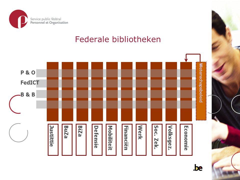 Federale bibliotheken P & O FedICT B & B JustittieBuZaBiZaDefensieMobiliteitFinanciënWerkSoc.
