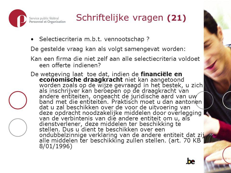 Selectiecriteria m.b.t. vennootschap .