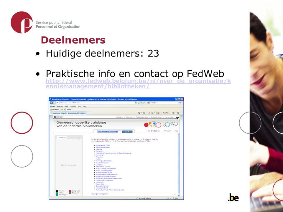 Huidige deelnemers: 23 Praktische info en contact op FedWeb http://www.fedweb.belgium.be/nl/over_de_organisatie/k ennismanagement/bibliotheken/ http://www.fedweb.belgium.be/nl/over_de_organisatie/k ennismanagement/bibliotheken/ Deelnemers