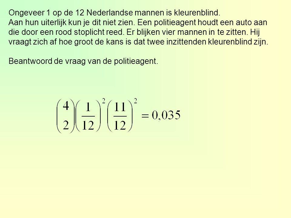 Ongeveer 1 op de 12 Nederlandse mannen is kleurenblind. Aan hun uiterlijk kun je dit niet zien. Een politieagent houdt een auto aan die door een rood