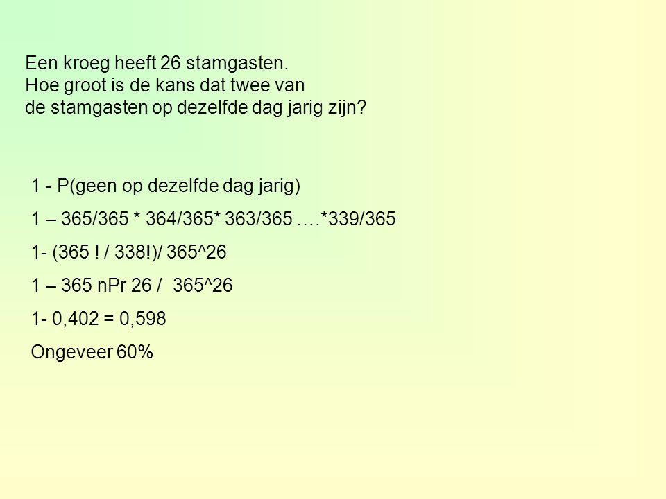 Een kroeg heeft 26 stamgasten. Hoe groot is de kans dat twee van de stamgasten op dezelfde dag jarig zijn? 1 - P(geen op dezelfde dag jarig) 1 – 365/3