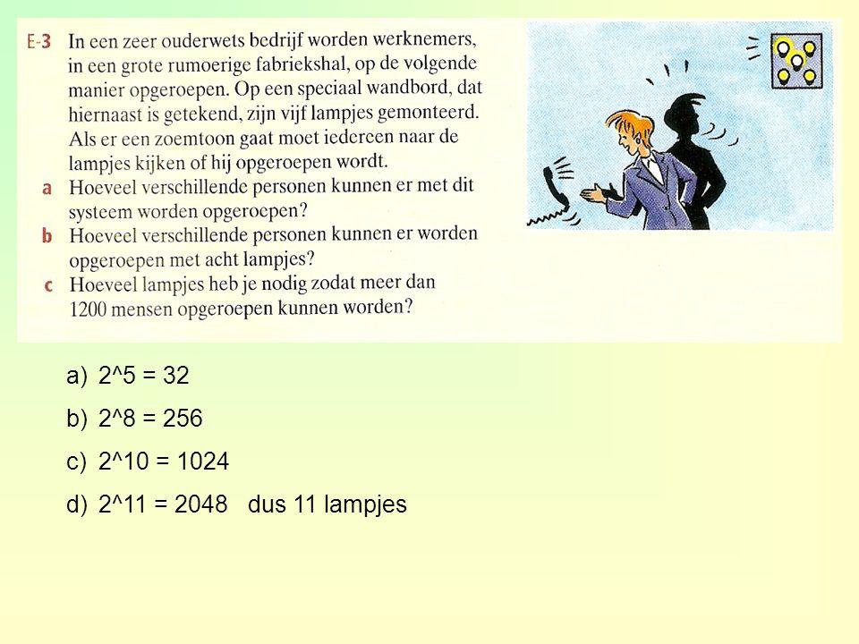 a)2^5 = 32 b)2^8 = 256 c)2^10 = 1024 d)2^11 = 2048 dus 11 lampjes