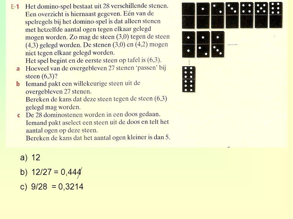 a)12 b)12/27 = 0,444 c)9/28 = 0,3214