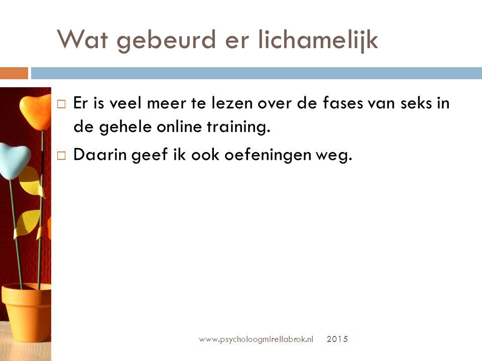 www.psycholoogmirellabrok.nl  Bespreek met je partner:  Wat zijn lichamelijke redenen voor jou om te vrijen.