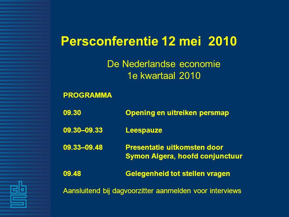 Persconferentie 12 mei 2010 De Nederlandse economie 1e kwartaal 2010 PROGRAMMA 09.30 Opening en uitreiken persmap 09.30–09.33 Leespauze 09.33–09.48 Presentatie uitkomsten door Symon Algera, hoofd conjunctuur 09.48 Gelegenheid tot stellen vragen Aansluitend bij dagvoorzitter aanmelden voor interviews