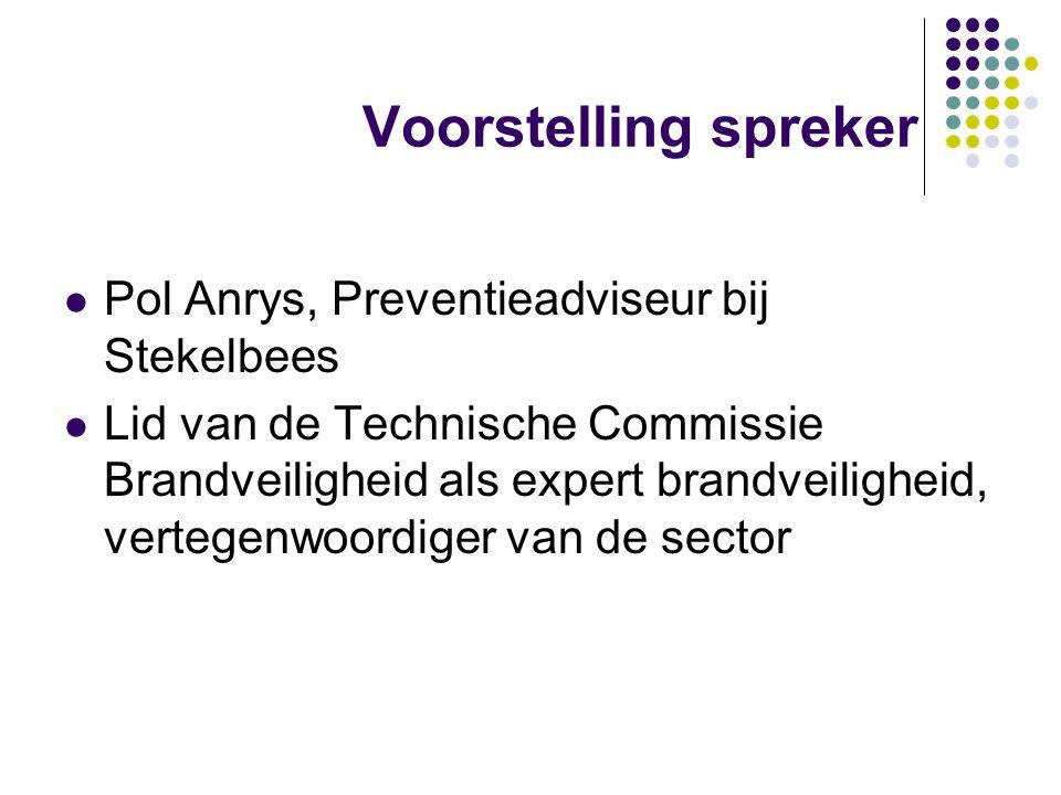 Voorstelling spreker Pol Anrys, Preventieadviseur bij Stekelbees Lid van de Technische Commissie Brandveiligheid als expert brandveiligheid, vertegenw