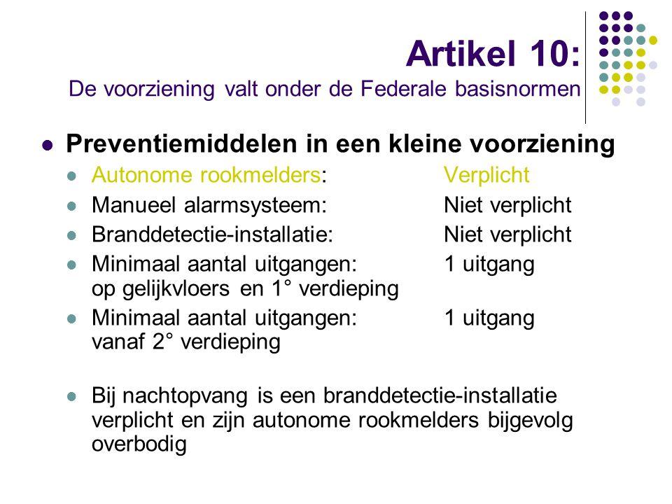 Artikel 10: De voorziening valt onder de Federale basisnormen Preventiemiddelen in een kleine voorziening Autonome rookmelders:Verplicht Manueel alarm