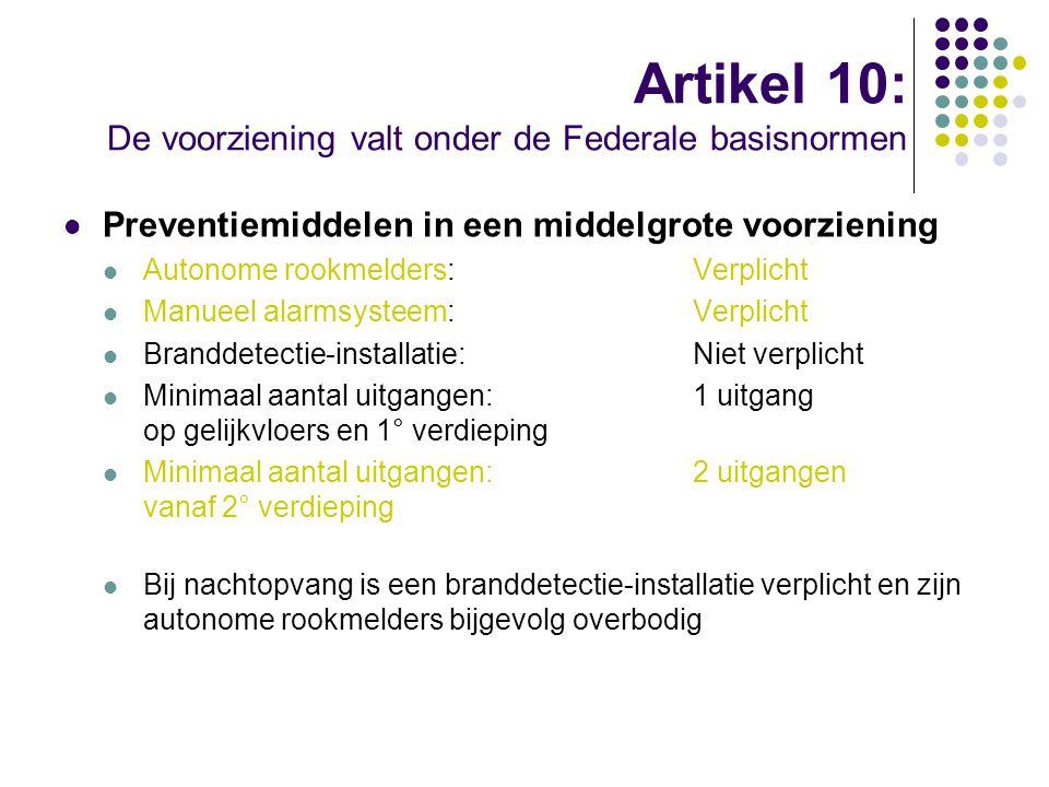Artikel 10: De voorziening valt onder de Federale basisnormen Preventiemiddelen in een middelgrote voorziening Autonome rookmelders:Verplicht Manueel