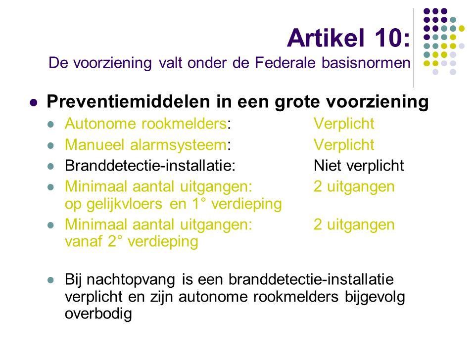 Artikel 10: De voorziening valt onder de Federale basisnormen Preventiemiddelen in een grote voorziening Autonome rookmelders:Verplicht Manueel alarms