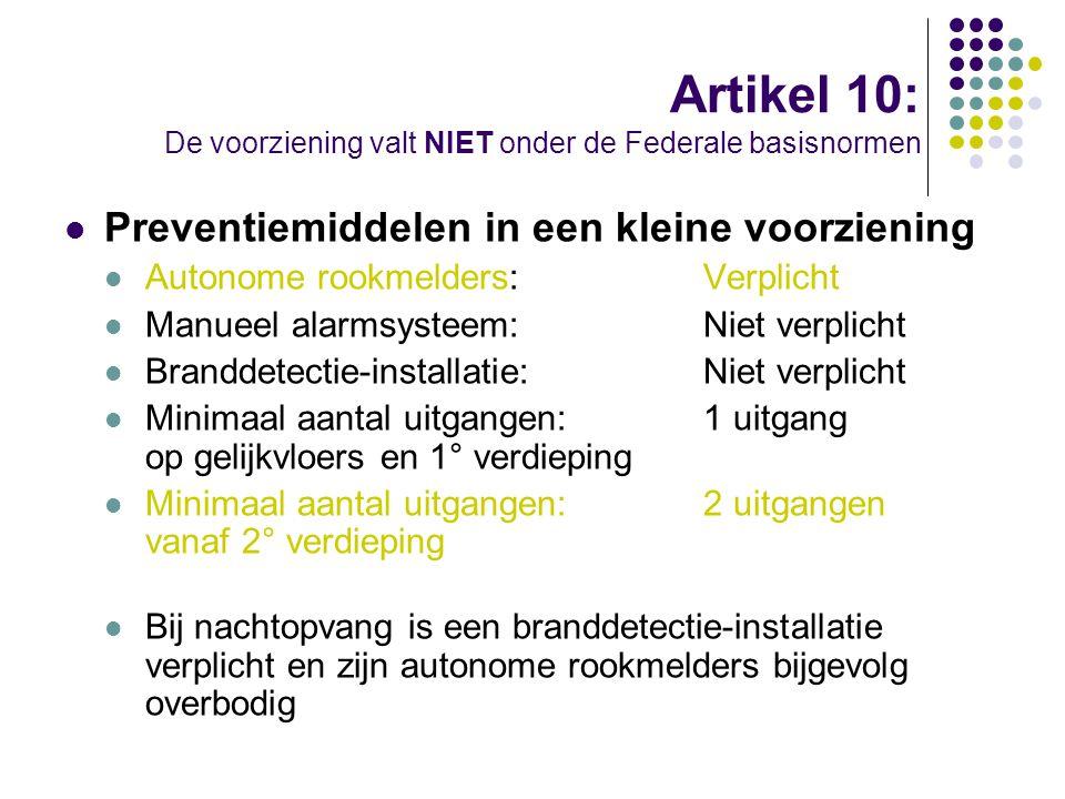 Artikel 10: De voorziening valt NIET onder de Federale basisnormen Preventiemiddelen in een kleine voorziening Autonome rookmelders:Verplicht Manueel