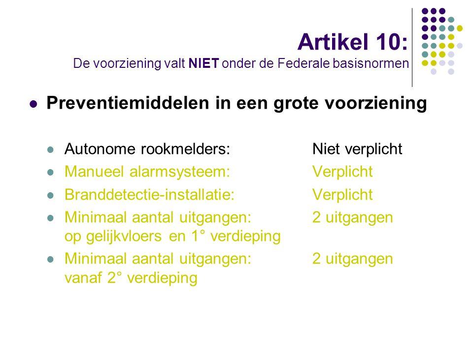 Artikel 10: De voorziening valt NIET onder de Federale basisnormen Preventiemiddelen in een grote voorziening Autonome rookmelders:Niet verplicht Manu