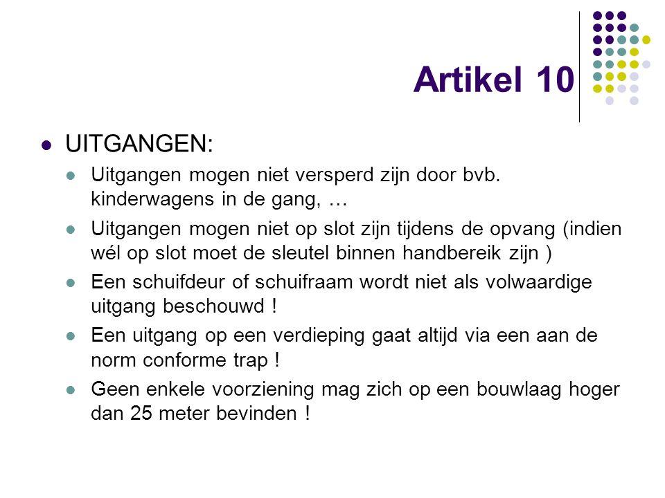 Artikel 10 UITGANGEN: Uitgangen mogen niet versperd zijn door bvb. kinderwagens in de gang, … Uitgangen mogen niet op slot zijn tijdens de opvang (ind